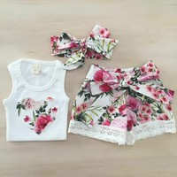 Summer Kid Toddler Baby Girl Clothes Floral Top+Shorts Pants Outfit Headband Set