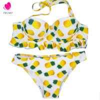 Pineapple printed sweety bikini set underwire push up bandeau bathing swimsuits low waist women swimming suit