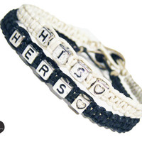 His Hers Personalized Bracelets for Couples Black and White Hemp, Set of 2