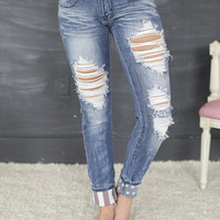 Distressed American Flag Cuff Jeans