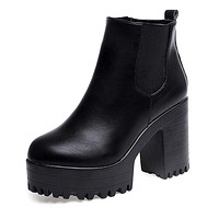 Square Heel Platforms Leather Thigh High Pump Boots