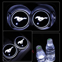 2x LED Car Cup Holder Pad Mat for Ford Mustang Auto Atmosphere Lights Xmas Gift