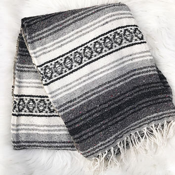 Authentic Mexican Blanket in Black and White