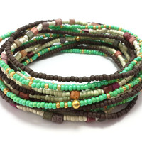 Seed bead wrap stretch bracelets, stacking, beaded, boho anklet, bohemian, stretchy stackable multi strand, green, brown, gold white red