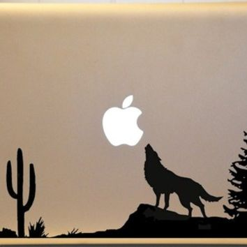 Wolf Howling at The Moon Macbook Vinyl Decal Mac Laptop BEAUTIFUL