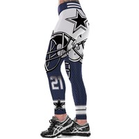 Dallas Cowboys Logo Fitness Leggings Elastic Fiber Hiphop Party Cheerleader Rooter Workout Team Pants Trousers Dropshipping