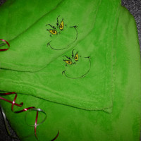 The GRINCH Blanket Throw High Pile PLUSH CUSToM EMBRoIDERED Grinch Two Corners! Oh So SNUggLY & SoFT! BoUTIQUE Custom Designs PERSONALiZE iT