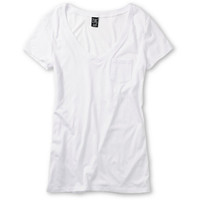 Zine Girls V-Neck Pocket White Tee Shirt