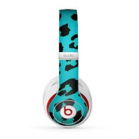 The Hot Teal Vector Leopard Print Skin for the Beats by Dre Studio (2013+ Version) Headphones