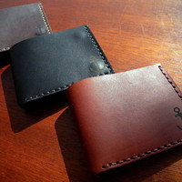 Nautical Wallets For Men. Classic Mens Leather Wallet. Hand Stitched With Minimalistic Design by Three Snails. Handmade Gift  Free shipping!
