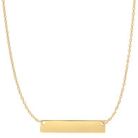 14K Yellow Gold Engravable Bar Pendant On 18 Inch Necklace