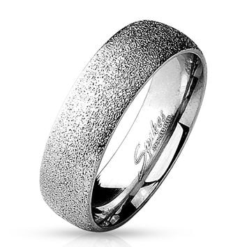 6mm Sand Sparkle Finish Dome Surface 316L Stainless Steel Wedding Band 5-12