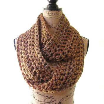 Ready To Ship Green Gold Amber Rust Brown Fall Color Chunky Scarf Fall Winter Women's Accessory Infinity