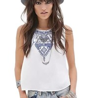 Embroidered Button Back Tank Top T Shirt