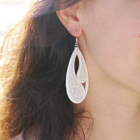 White wooden earrings. Lovely women jewelry. Flamenco style earrings.