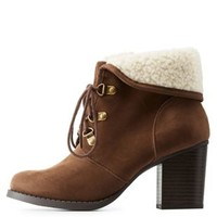 Brown Shearling-Cuffed Block Heel Hiking Booties by Charlotte Russe