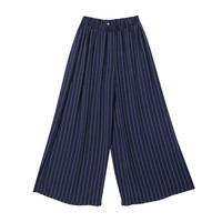 Striped Wide Leg Straight Pants (Navy) | STYLENANDA