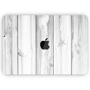 """White & Gray Wood Planks - Skin Decal Wrap Kit Compatible with the Apple MacBook Pro, Pro with Touch Bar or Air (11"""", 12"""", 13"""", 15"""" & 16"""" - All Versions Available)"""