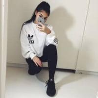 Fashion Adidas Originals Womens Berlin Sweater - White Black [9263711431]