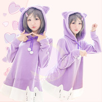 "[The ""Hentai"" Prince and the Stony Cat] Tsukiko Purple Fleece Hoodie Jumper Dress SP141500 from SpreePicky"