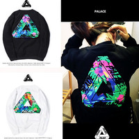 Cotton Floral Printed Women Triangle Sports Hoodies Long Sleeve Round Necked Sweatshirt Jumper Shirt Top Blouse _ 10149
