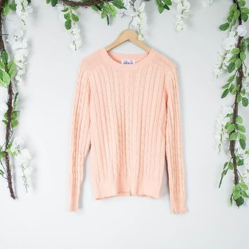 Vintage 50s Peach Cable Knit Sweater