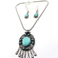 Ethnic Silver Turquoise Pendant Necklace & Earring Set