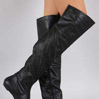 Bamboo Slouchy Elastic Gores Over the Knee Boots