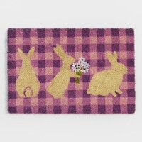 Purple Plaid Easter Bunny Coir Doormat