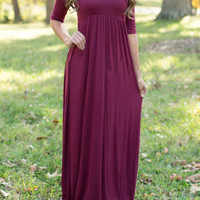 Half Sleeve Solid Color Maxi Dress