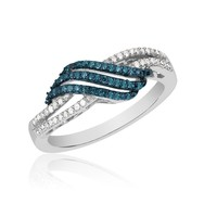 Blue Diamond and Diamond Twist Fashion Ring 1/6ctw