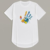 Fashion Casual Men Hands Print High Low Tee