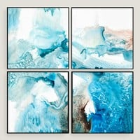 Abstract Blues Wall Art Set of Four