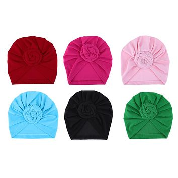 born Baby Caps Hats For Kids Children Turbans Lovely Cotton Head wear Winter Wrinkle Hat Beanies born Photography Props