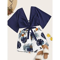 Plunging Self-Tie Top & Tropical Print Shorts Set