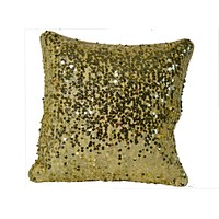 Golden Decorative Throw Sequin Solid Pillow Cover Square