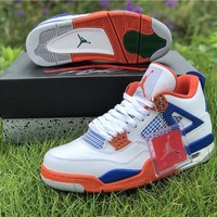 DCCK Air Jordan 4 Retro 308497 171 - White/Orange/Blue