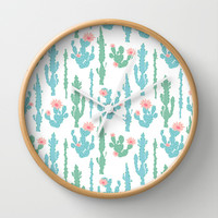 Cactus Pattern Wall Clock by Figen Topbas | Society6