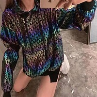 Dior Autumn women's Korean loose bronzing colorful hooded pullover sweater
