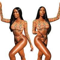 African Tribal Print Long Sleeve Two Piece Swimsuit