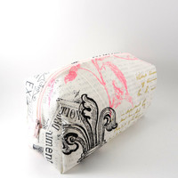 White and Pink Paris Makeup Bag, Gadget Case, Under 15, Pencil Case, Medium, Zippered, Cosmetic Case, For Her