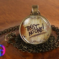 Gravity Falls Trust No One Handmade Necklace Pendant Charm Charms Jewelry Gift
