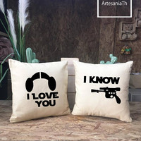 I love you I know Pillow cover Set, Cushion cover, Star Wars Gift, Princess Leia & Han Solo - Star War Wedding, Wedding Gifts