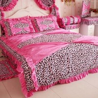DIAIDI Home Textile,Red Pink Leopard Bedding,Princess Bow Ruffle Bedding Set,Leopard Print Bedding Set,Twin/Full/Queen/King,4Pcs Bedroom Set