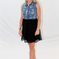 Denim Top with Black Silk Bottom - Always a Runway Clothing