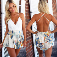 Jumpsuit Women's Fashion Sexy Deep V Backless Print Lace Mosaic Romper