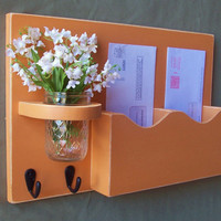 Mail Holder  Double Slots  Key Hooks  Jar Vase  by LegacyStudio