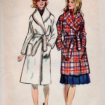 Retro Simplicity 70s Sewing Pattern Classic Style Winter Coat Wrap Front Tie Waist Shawl Collar Raglan Sleeves Uncut Bust 34