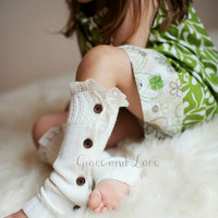 The Mini Molly - GIRLS Soft Slouchy Button Down leg warmers w/ Ivory Knit Lace Trim - girls legwarmers baby legs in 5 colors