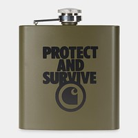 Protect And Survive Whiskey Flask